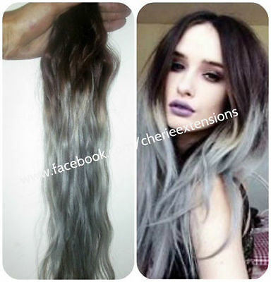 "ombre dip dye balayage clip in human hair extensions 18"" Brown Grey"