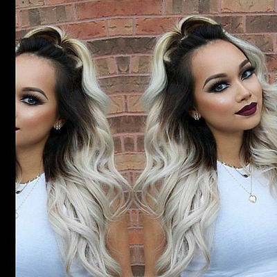 """ombre dip dye balayage WEAVE WEFT  human hair extensions 16"""" Black Grey White"""