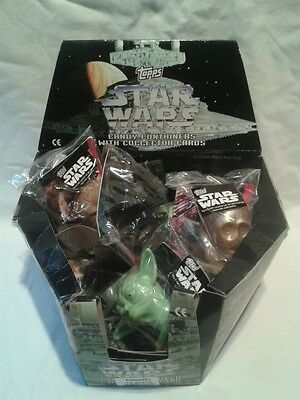 Vintage 1997 Topps Star Wars Candy Containers & Collector Cards + Shop Display