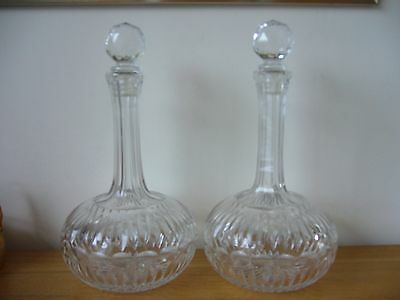Pair of old probably victorian crystal glass decanters