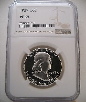 1957 Ngc Pf68 Proof Franklin Half Dollar Great Cameo Obverse!
