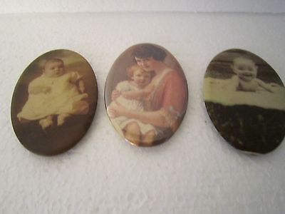 Three  Pocket Mirrors Two Vintage and One Reproduction