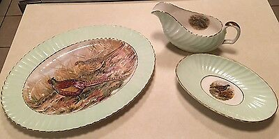 3pc Imperial Bone China England Platter Gravy Boat Dish Pheasant Quail Partridge