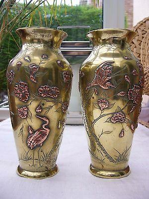 Two metal Japanese metal inlay vases brass and copper cranes decoration