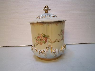 Antique Porcelain Hand Painted Biscuit Jar with Lid