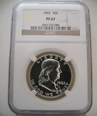 1962 Ngc Pf67 Proof Franklin Half Dollar Brilliant!