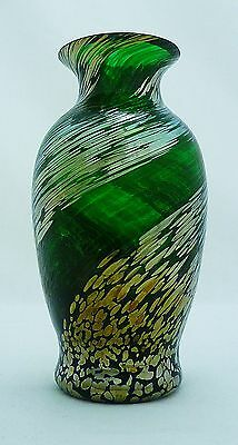 Caithness Green Vase with Gold & Silver Swirl