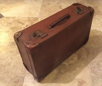Vintage Suitcase With Reinforced Corners, Former Picnic Suitcase With Strapping