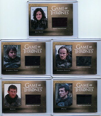 2016 Game Of Thrones Season 5 NIGHT'S WATCH RELIC set /250 (5 cards) CC1-CC5