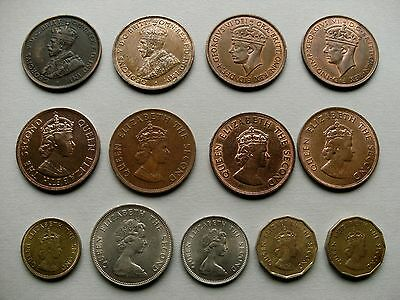 Channel Isle - Thirteen Jersey Coins with Various Dates and Denominations.