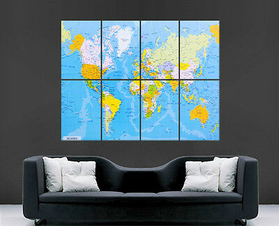 Map Of The World Map Poster Print Giant Wall Art Cities Countries Image Huge