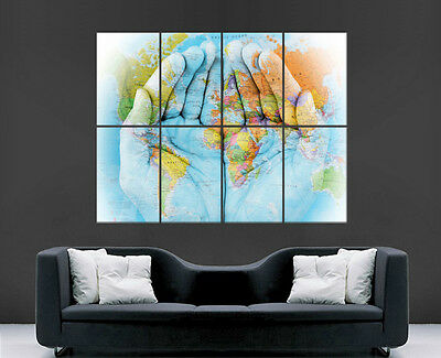 Map Of The World Map On Hands Poster Print Giant Wall Art  Image Huge