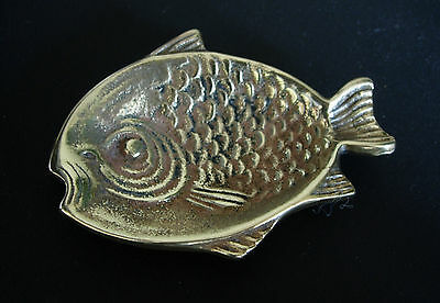 Small Old Vintage Brass Metal Fish Nautical Unusual Pin Ash Trinket Dish Tray