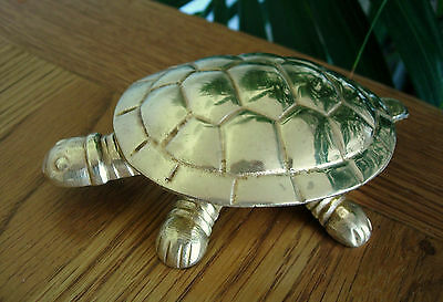 Collectable Vintage Brass Metal Tortoise Turtle Hinged Lid Shell Trinket Box
