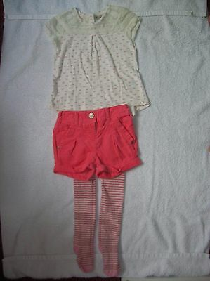 Girls' Corduroy Shorts, Lace Top & Tights 3-piece Outfit (Next, 2-3 years) *NEW*