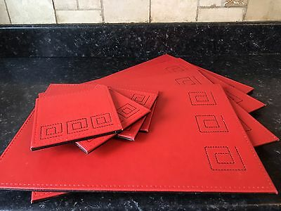 4 Placemats And Matching Coasters Red/black Reversible Fab Items