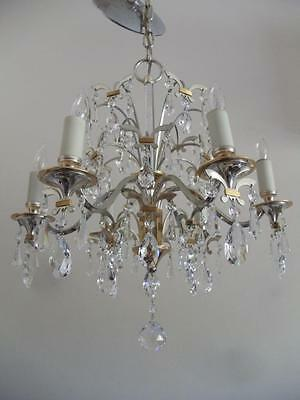 Vtg Mid Century Lightolier Silver Chrome & Gold Brass Petite Crystal Chandelier