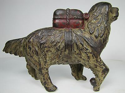 Antique Cast Iron Saint Bernard with Package Figural Bank orig old paint ornate