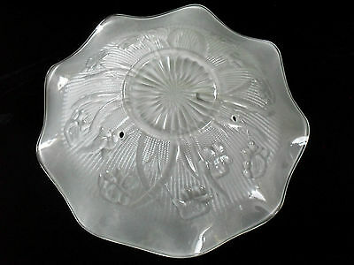 RARE~retrofit~HANGING CEILING LIGHT COVER~SHADE~IRIS & HERRINGBONE ~SATIN GLASS
