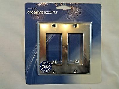 NEW Creative Accents Polished Chrome Steel Double Rocker Wall Plate