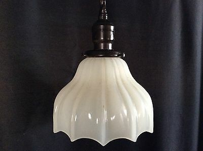 Vintage Antique Pair of Milkglass Pendant Hanging Lights 1920 Art Deco