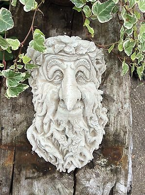 GREEN MAN   WALL PLAQUE FROST PROOF NATURAL STONE GARDEN ORNAMENT Christmas Gift