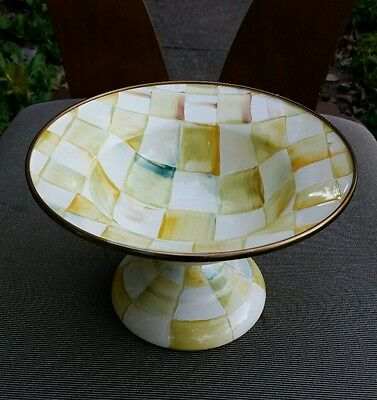 """New MacKenzie Childs PARCHMENT CHECK Enamel 5"""" x 7.5"""" Compote"""