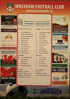 2009-10 WREXHAM v MANSFIELD TOWN  - Official Colour Teamsheet