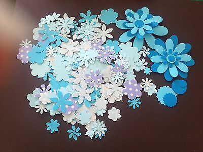 200 blue flowers, for scrapbooking, card making, decorating crafts