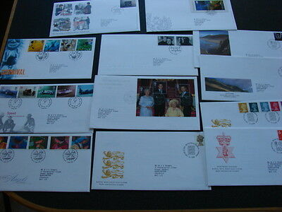 GB 12x First Day Covers 1998-2001, Carnival,Speed cars,Queen Mother,Royal Weddin