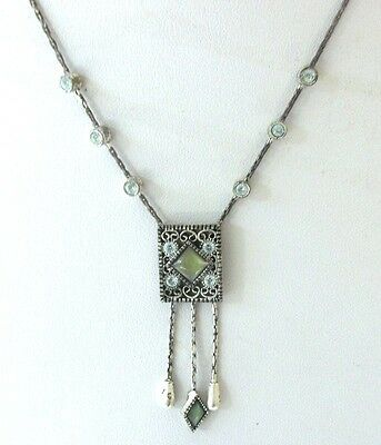 1928 Necklace  With  Rhinestone Cabochon  Long  Drop  Chain Necklace Nice