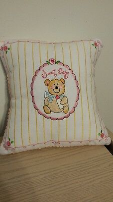 DECORATIVE White SWEET BABY TEDDY BEAR THROW PILLOW by Dena Designs