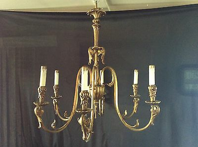 Vintage Large Antique Brass 6 Arm Chandelier Original Patina Spain Rewired 1930s