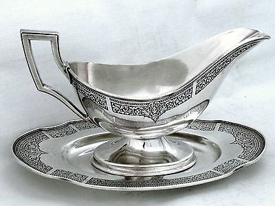 ANCESTRAL 1847 ROGERS DECO NEOCLASSIC c.1924 GRAVY BOAT & UNDERPLATE SET