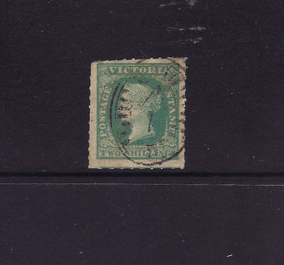 VICTORIA Sg 56,Sc#22;1857 2/- Woodblock Rouletted.cv $900