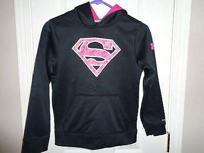Under Armour Girls Superman Hoodie Pink Black Small