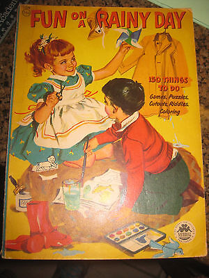 """VINTAGE 1953 Merrill Co """"Fun on a Rainy Day"""" Coloring Activity Book"""