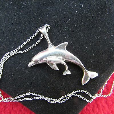 """Sterling Silver Ocean Sea Swimming Mother & Baby Calf Dolphin 18"""" Necklace Nice!"""