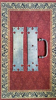 Architectural Salvage Antique Gothic Door Handle with Back/Push Plate(s)