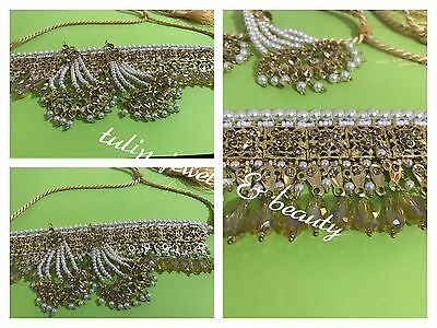 Indian / Pakistani Jewellery Choker Necklace Jhummar Earrings Set Gold Plated
