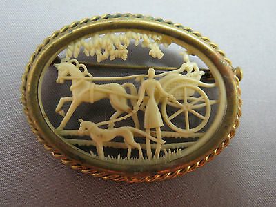 Antique 3D Carved Celluloid Carriage Scene Oval Brooch Depose France Horse Dog