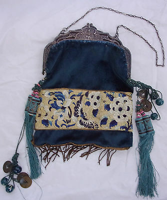 Antique CHINESE SILK embroidery PURSE Art NOUVEAU Cherub Frame QING DYNASTY coin