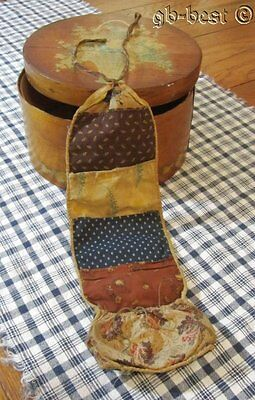 Early c 1840s Pennsylvania Sewing Roll up SCARCE htf