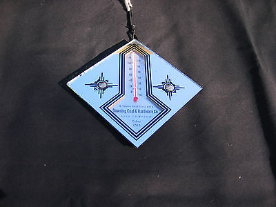 vintage thermometer mirror Downing coal and hardware Deco