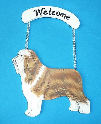 Bearded Collie Handcrafted of Wood with Welcome Sign