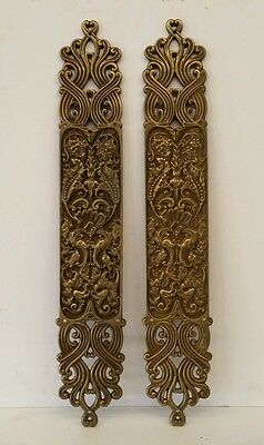 "Pair of antique cast brass door push plates 3"" x  19"" architectural salvage"