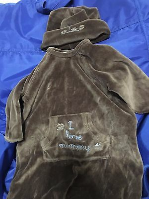 Wendy Bellisimo size 3-6M Brown one piece outfit with hat