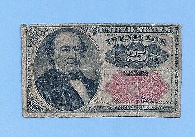 FR 1308 - Twenty Five Cents 5th Issue Fractional Currency Note Open AUCTION