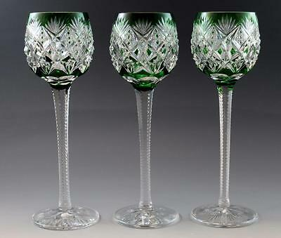 """3 French St. Louis Florence Pattern Green Cut Crystal Hock Wine Goblets 9.5"""""""