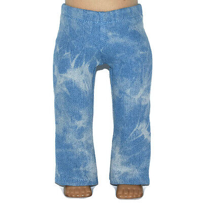 "Handmade to fit 18/"" American Girl Dolls LIGHT BLUE TIE DYED DENIM JEANS"
